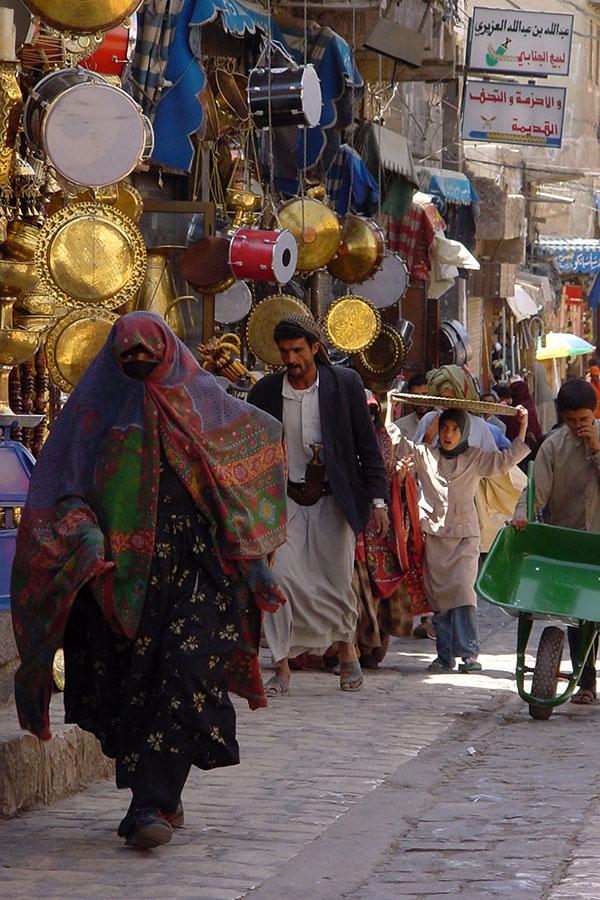 Straat in de oude stad van Sana'a