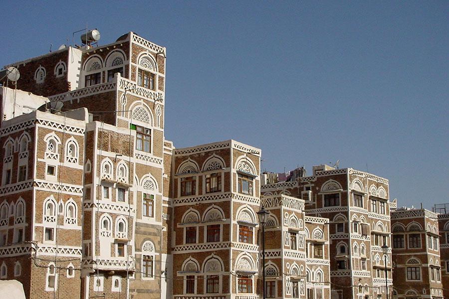 Stenen gebouwen in de oude stad van Sana'a