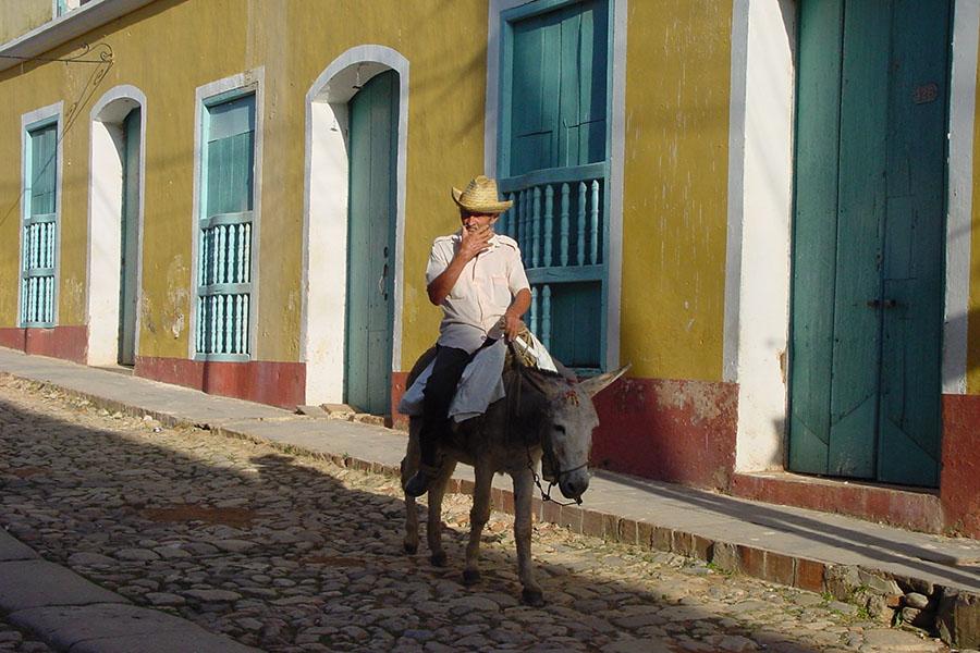 Man on a donkey in Trinidad, Cuba