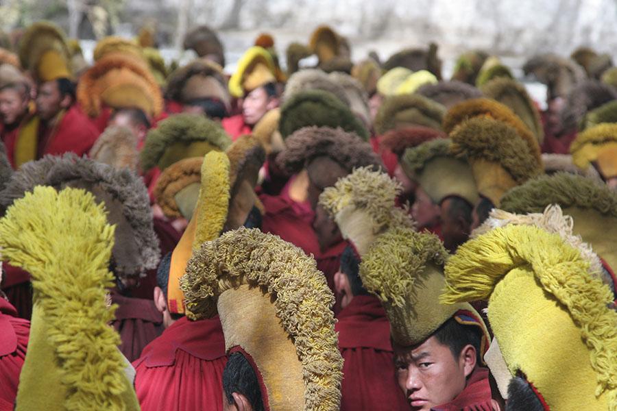 Yellow Hat monks in Sera Monastery