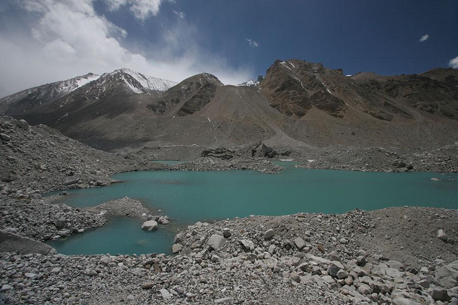 Green lake on Rongbuk Glacier