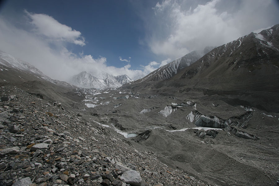 Rongbuk Glacier with Mount Everest hidden by clouds