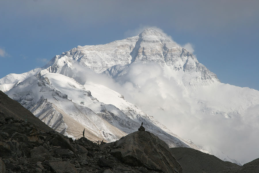 Mount Everest with clouds
