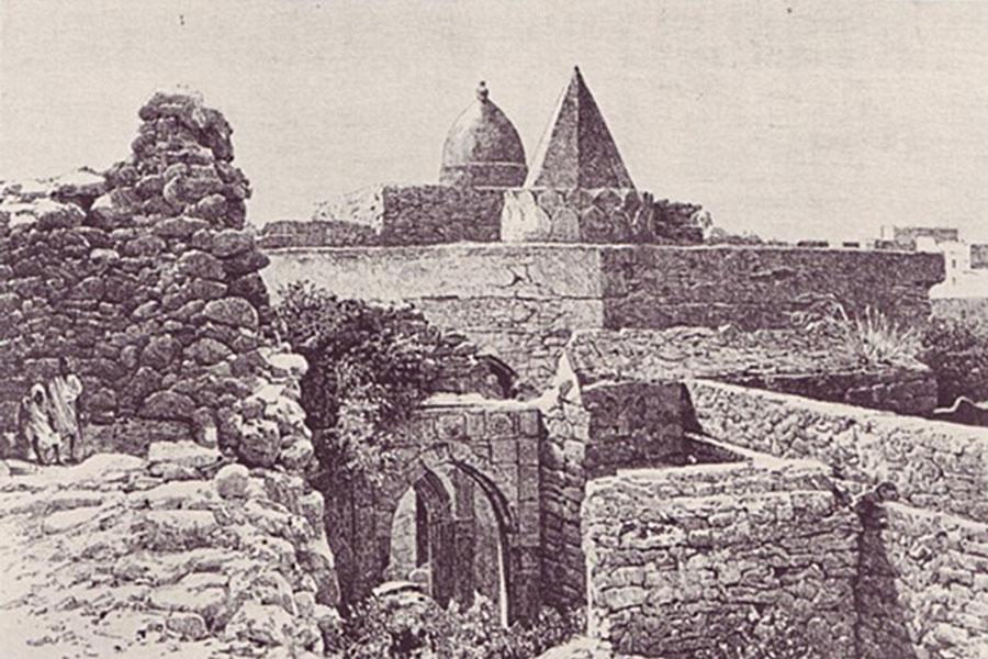 De zwart-wit schets van de Fakr ad-Din moskee van Mogadishu