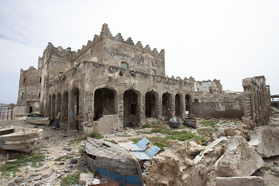 De ravage bij de vuurtoren van Mogadishu