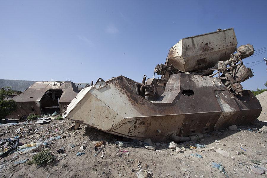 Amerikaanse legervoertuigen vernietigd in de Slag om Mogadishu