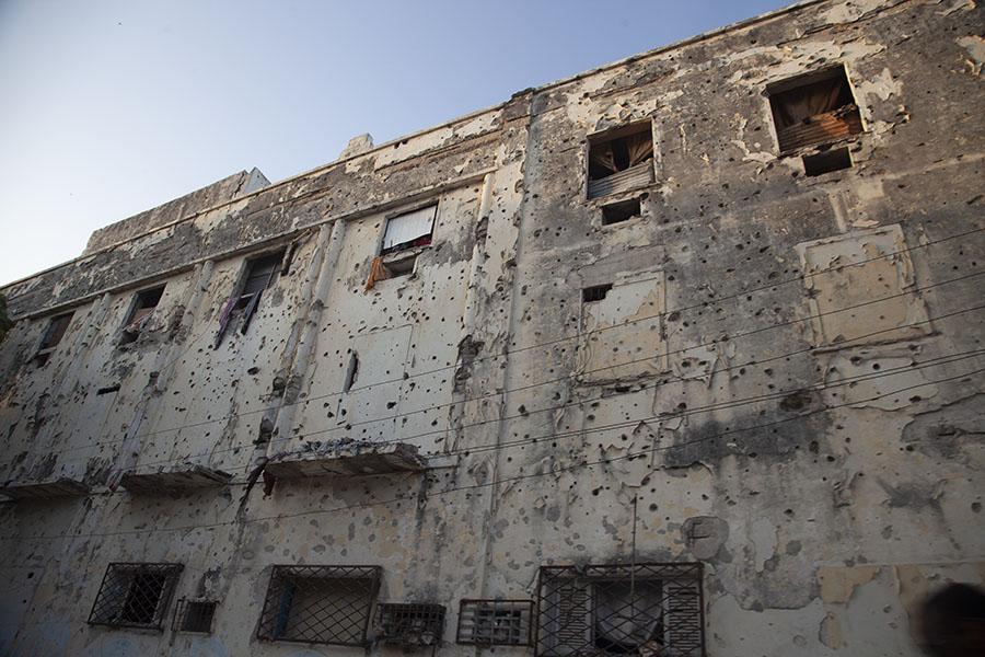 Muren vol met kogelgaten in Mogadishu