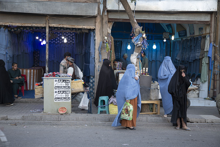 One of the burqa shops in Herat