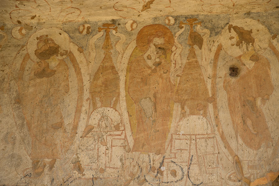 Frescoes in a cave in Bamiyan