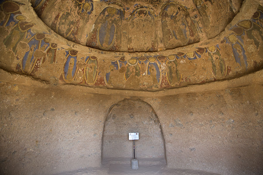 Frescoes decorating the ceiling of a cave in Bamiyan