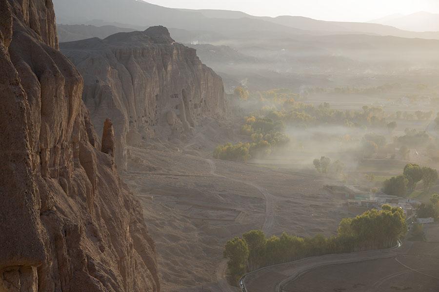 Morning view of the cliffs of Bamiyan