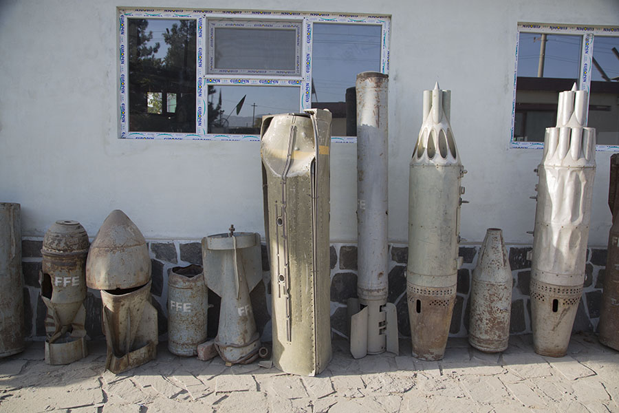 Exposition of weapons at the mine museum of Kabul