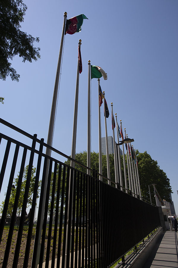 Row of flags at the UN headquarters in New York with the Afghan flag in the foreground