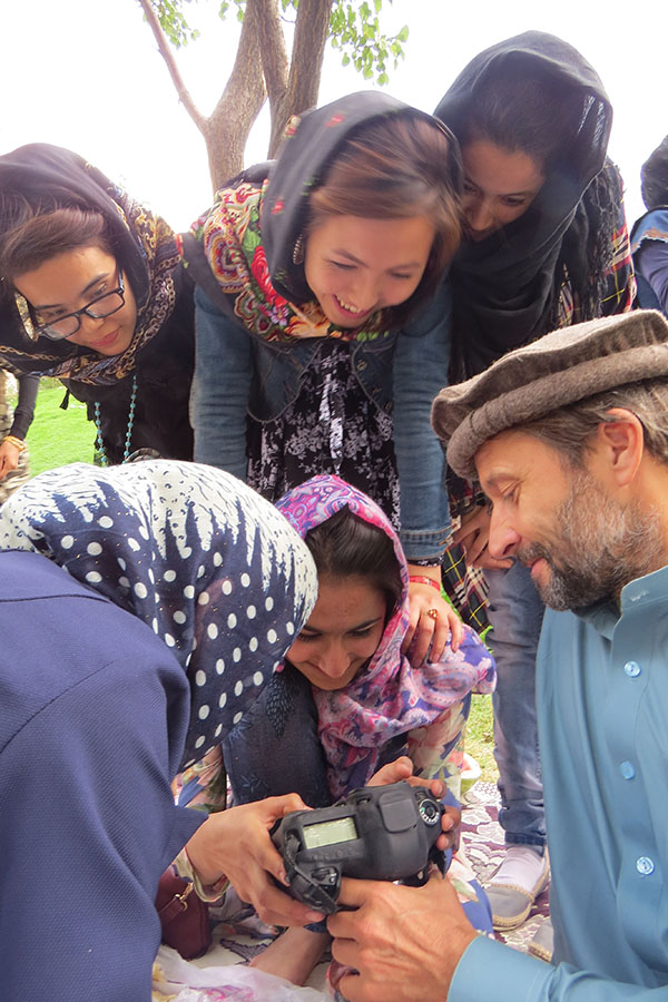 With Afghan girls in Kabul