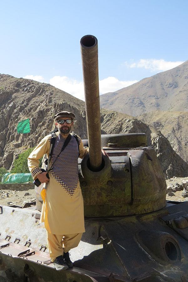 Posing at a Russian tank in the Panjshir valley